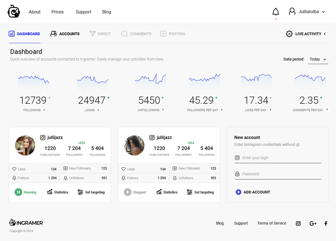 Desktop account dashboard
