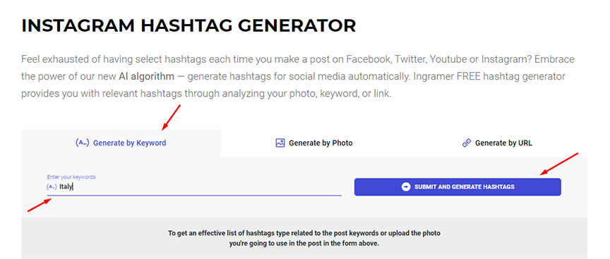 Instagram Hashtag generator screenshot